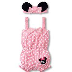 New baby girls 2pcs bodysuit & Headdress one-piece pink Minnie costume YH155 | eBay