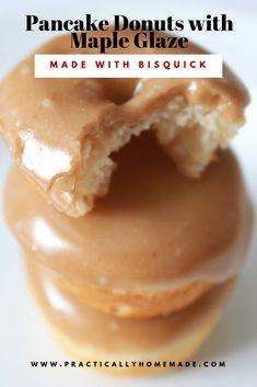 Pancake Mix Donuts with Maple Glaze pancake donuts with maple glaze Bisquick Recipes, Baking Recipes, Bisquick Donut Recipe, Best Donut Recipe, Oven Recipes, Gourmet Donut Recipe, Baking Pan, Baking Ideas, Gastronomia