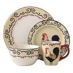 bamboo rooster dinnerware set   Amazon.com: 16PC DINNER SET ...