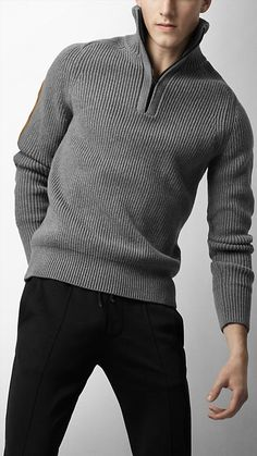 Burberry - ribbed cotton blend sweater crochet & knitted sweaters for m Sweater Outfits, Casual Outfits, Men Sweater, Cotton Sweater, Sport Outfits, Louis Vuitton Taschen, Burberry, Looks Style, My Style