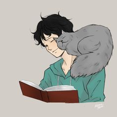 "Tiberius ""Ty"" Blackthorn and Church the cat reading 