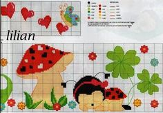 Sleeping Lady Bug and Mushroom Free Cross Stiych Pattern Chart