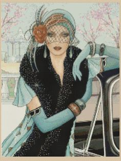 Cross stitch chart Art Deco Lady 42 free uk P&p Arte Fashion, Art Deco Fashion, Vintage Fashion, Retro Fashion, French Fashion, Ladies Fashion, Art Nouveau, Dame Chic, Art Deco Cards