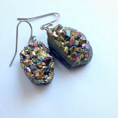 Crystal Druzy Rock Earring by Laineybean on Etsy Etsy Earrings, Drop Earrings, Crystal Drop, Crochet Earrings, Jewelry Accessories, Bling, Etsy Shop, Jewels, Purses