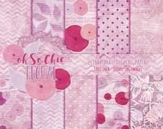 PINK WATERCOLOR FLORAL Digital Paper Pack by ClipArtBrat on Etsy