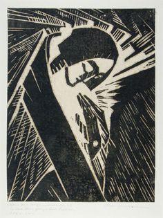 Emma Schlangenhausen (1882-1947) De Oostenrijkse graficus heeft een gevarieerd oeuvre en een lange en gevarieerde carrière. Ze studeerde onder Kolo Moser, die experimenteerde met een monochrome houtsnede. Om haar te leiden in de richting van houtsnede, maar zoals je kunt zien, ontwikkelde zij een aanpak die het expressionisme combineert met art deco.