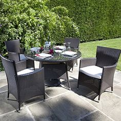 BillyOh Rosario Flat Weave Rattan 4 Seater Round Dining Set - Includes Cushions