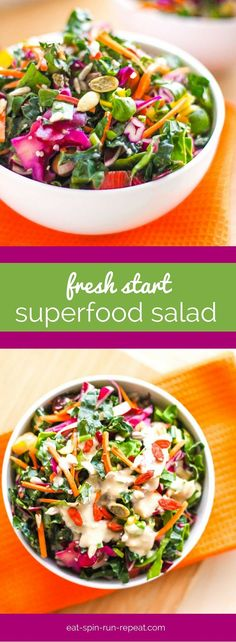 Fresh Start Superfood Salad: A big bowl of nutrient-dense veggie goodness to help kickstart your clean eating habits this year. Tossed in a delicious orange tahini dressing that you'll be wanting to pour on everything! Vegan, gluten-free, dairy-free.