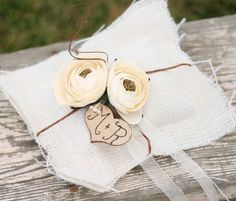 Rustic Ring Bearer Pillow Personalized Wood Heart by braggingbags, $39.99
