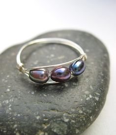 Freshwater Peacock Pearl Wire Wrapped Ring in Sterling Silver, Silver Pearl Ring