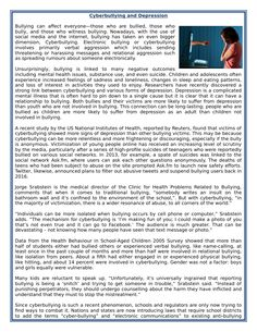 Cyberbullying and Depression - Reading Comprehension Worksheet - Informational Text by MariaPht - Teaching Resources - Tes Ielts Reading Academic, Ielts Writing Task1, Reading Comprehension For Kids, Essay Writing Skills, English Writing Skills, English Reading, Writing Words, Reading Passages, Teaching English