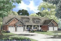 Traditional Style House Plans - 3162 Square Foot Home , 1 Story, 6 Bedroom and 4 Bath, 4 Garage Stalls by Monster House Plans - Plan 12-371