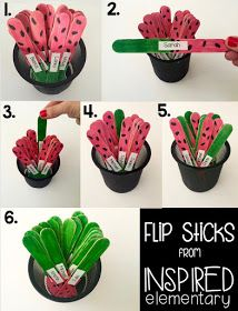 Such a cute idea for calling on students. Then, flip it over so you know you have already called that student. I love these watermelons!!