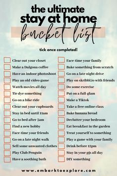 The ultimate 'stay-at-home' bucket list! How many have you completed? The ultimate 'stay-at-home' bucket list! How many have you completed? Productive Things To Do, Things To Do At Home, Stuff To Do, Fun Things, Things To Do Inside, Summer Things, Free Things To Do, Summer Bucket List For Teens, Summer Fun List