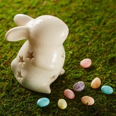 Sculpture Bunny w/Star Cut-outs Cream Ceramic