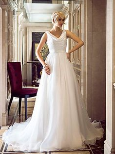 A-line Cowl Sweep/Brush Train Organza Sequined 2015 Wedding Dress