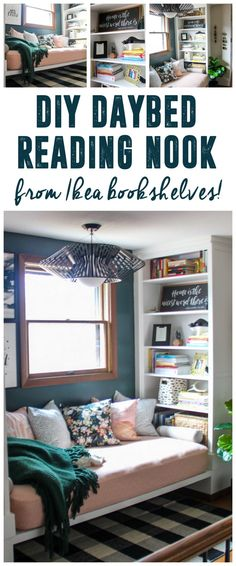Reading Nook with Built in Bookshelves using Ikea Hemnes Bookcase www. - Ikea DIY - The best IKEA hacks all in one place Chaise Longue Diy, Ikea Hemnes Bookcase, Ikea Hemnes Daybed, Bookshelves Ikea, Book Shelves, Small Rooms, Small Spaces, Bedroom Small, Modern Bedroom