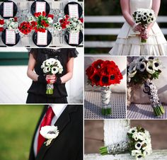 Black, red and white bouquets