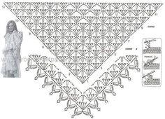 Shawl Crochet Patterns Part 19 - Beautiful Crochet Patterns and Knitting Patterns Débardeurs Au Crochet, Poncho Au Crochet, Crochet Shawl Diagram, Beau Crochet, Pull Crochet, Crochet Wrap Pattern, Crochet Shawls And Wraps, Crochet Chart, Crochet Scarves