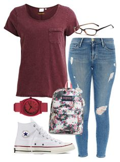 """""""PAR"""" by avamancuso ❤ liked on Polyvore featuring Frame Denim, Object Collectors Item, Converse, Nixon, GlassesUSA, JanSport and avamancuso"""