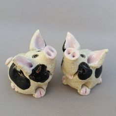 These adorable miniature pigs are one of a kind original sculptures made by hand with stoneware clay. the have been fired twice in an electric kiln,