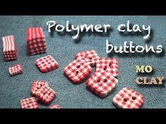 DIY Polymer clay buttons tutorial - Square fabric - Bottoni in Fimo - Botones en arcilla polimerica - YouTube