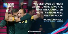 #homegroundadvantage #Springboks CHARACTER BUILDING... Captain Fourie Du Preez says #RSA have come a long way since their shock defeat by #JPN