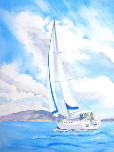 """""""Sailing the Islands"""" Fine Art Original Watercolor Painting by Carlin Blahnik.  On a sunny day, blue sky with white puffy clouds a yacht sails on calm ocean water. Islands are seen in the distant horizon.  A lone bird, a seagull, flies high in the sky."""
