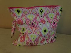 Wet Bag with Handle - 14x14 - hot and light pink, neon yellow ikat pattern with hot pink zipper