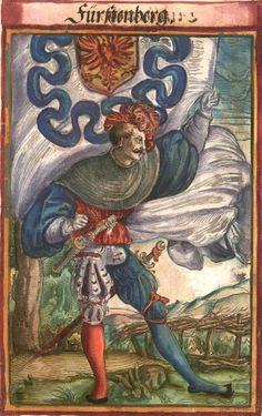 """Fürstenberg [Fürstenberg] (f°134) -- Koebel, Jacob, """"Wapen des heyligen römischen Reichs teutscher Nation"""", Franckfurth am Main, 1545 [BSB Ms. Rar. 2155]"""