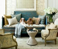 Living Room, Atlanta Homes & Lifestyles, Antiques, Blue
