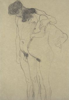 "Pregnant Woman with Man"" sketch, Gustav Klimt Gustav Klimt, Art Klimt, Life Drawing, Figure Drawing, Painting & Drawing, Kunst Online, Man Sketch, Alphonse Mucha, Art Drawings"