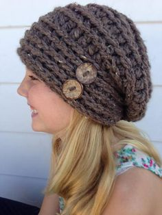 This tutorial will teach you how to crochet the McKinnon Hat all on your own. This is a great hat to wear throughout each season. Looks darling in any color. Add different colored buttons for a touch of pizazz. Diy Tricot Crochet, Bonnet Crochet, Crochet Slouchy Hat, Knit Or Crochet, Crochet Scarves, Crochet Crafts, Crochet Clothes, Crochet Baby, Crochet Projects