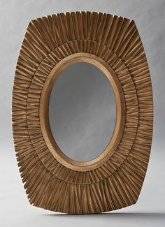 Sol mirror in antiqued gold leaf