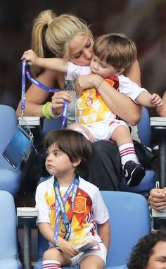 Shakira, Milan & Sasha from The Big Picture: Today's Hot Pics  Double the cuteness! The latin lady spends some QT with her adorable sons during the Italy vs. Spain soccer game in France.