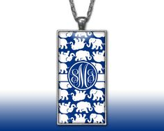 Elephants Navy Monogram Pendant Charm Necklace Personalized Custom Silver Plated Jewelry