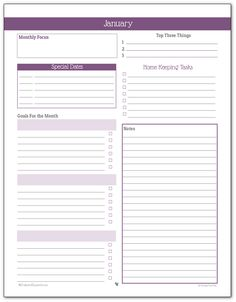 Monthly Planner Printable for January