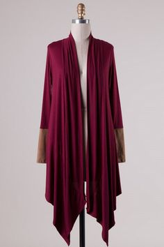 Suede Trim Sleeve Cardigan (Burgundy) - Ashe Couture, Inc