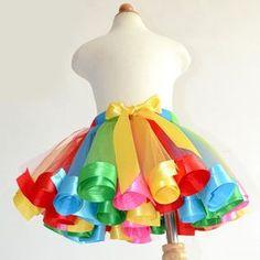Cute Elastic Waist Rainbow Color Bowknot Embellish Bubble Skirt For Girl