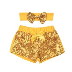 Party Sequin Summer Shorts With Matching Headband from kidspetite.com! Adorable & affordable baby, toddler & kids clothing. Shop from one of the best providers of children apparel at Kids Petite. FREE Worldwide Shipping to over 230+ countries ✈️ www.kidspetite.com #girl #shorts #clothing #toddler Baby Girl Bows, Girls Bows, Baby Girl Newborn, Hot Dads, Toddler Girl Shorts, Sequin Pants, Yellow Shorts, Kids Pants, Summer Shorts