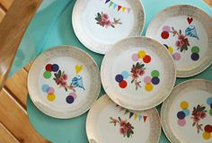 Super festive set of one very large and nine smaller (cake) plates