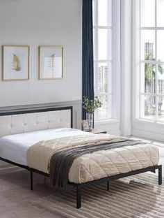 Metal Bed Frame With Upholstered Headboard Wood Platform Bed, Queen Platform Bed, Upholstered Platform Bed, Bed Reviews, Queen Size Bedding, Home Decor Bedroom, Bedroom Furniture, Minimal Design, Perfect Place