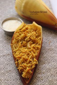 How to make Banana Flower biryani Banana Recipes, Rice Recipes, Veggie Recipes, Indian Food Recipes, Cooking Recipes, Veggie Food, Cooking Tips, Vegetarian Recipes, Kootu Recipe