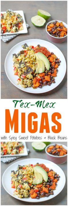 Tex-Mex Migas are a simple, vegetarian recipe, perfect for breakfast or dinner. Add a simple sweet potato and black bean hash for extra protein and fiber! @lean