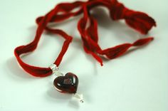 Red lampwork Glass Heart on Silk Ribbon Necklace N206 by Marcia Etheridge