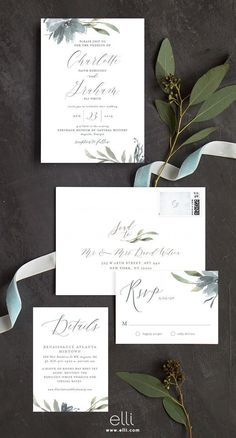 The perfect fall wedding invitation with dusty blue florals and greenery.