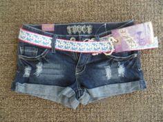 NWT Truce Jeans Shorts Juniors Sz 13 Low Rise Distressed stud Denim Belt pants