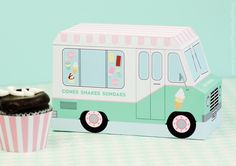 Ice Cream Truck, Ice Cream Party Favor, Food Truck, Cupcake Box, Donut Box, Sweet Shoppe Party, Paper Toy, Centerpiece, Dessert Table Idea by PaperBuiltShop on Etsy https://www.etsy.com/listing/224679351/ice-cream-truck-ice-cream-party-favor