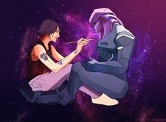 A commission for of her Ryder, Echo, painting those traditional Angara markings on Jaal's skin. This one was so much fun to paint, and I'm so glad I got a chance to! Also, I'll never tire. Jaal Mass Effect, Mass Effect Ships, Mass Effect Romance, Sara Ryder, Bioshock, Geek Culture, Dragon Age, Some Pictures, Art Blog