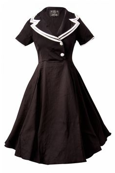 The 50s Rhonda Doll Sailor black swing dress retro by Collectif. An all time favourite this playfull dress.